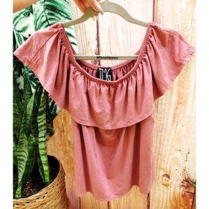 Blush pink suede off shoulder tee 🌿